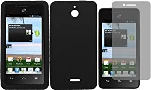 For Huawei Ascend Plus H881C Silicone Jelly Skin Cover Case Black + LCD Screen Protector