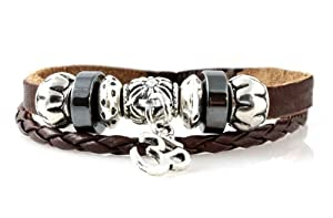 Om Leather Zen Bracelet; Fits 6 to 9 Inches For Men, Women, Teen, Student