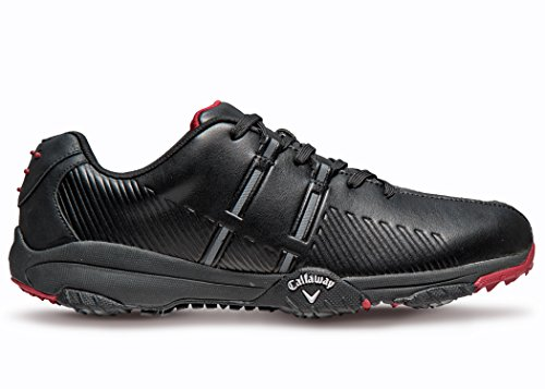 Callaway Footwear Men's Chev Comfort Golf Shoe, Black/Black/Crimson, 11.5 M US