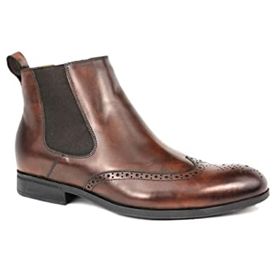Steptronic Mens 'Bassett' Chelsea Boot With Semi Brogue Detail EU 42