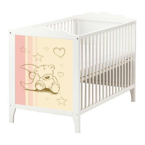 teddy aufkleber in rosa und creme f r das babybett hensvik von ikea bb02. Black Bedroom Furniture Sets. Home Design Ideas