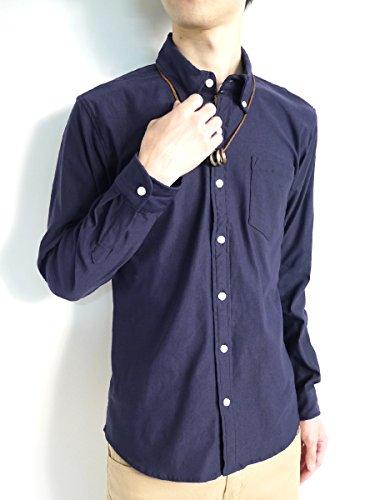 (モノマート) MONO-MART スーパーストレッチ シャツ 長袖 快適 モード カジュアル 都会的 デザイン 品質 伸縮性 メンズ ネイビー Lサイズ