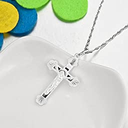 VECELO 925 Sterling silver Catholic Cross Pendant with Chain Necklace 18\