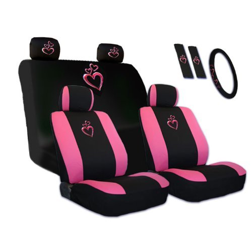 New Design Large Pink Heart Car Seat Covers Steering Wheel Cover Headrest Cover Gift Set (Pink Toyota Corolla Seat Covers compare prices)