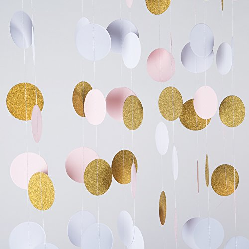 MOWO Glitter Paper Garland Circle Dots Hanging Decor,2'' Diameter,9.8-feet(gold glitter/pink/white,2pc) (Gold Streamer Backdrop compare prices)