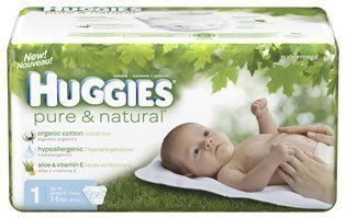 Huggies Pure & Natural Diapers, Size S1, Super Mega 66 Ea