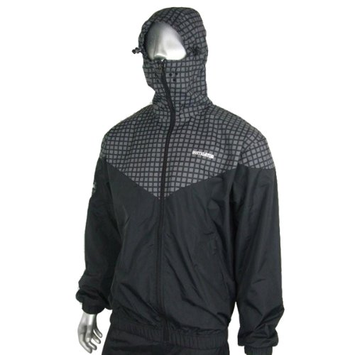 Instigator Mens Boys Black Bomber Rain Jacket Hooded Windbreaker Coat All Sizes