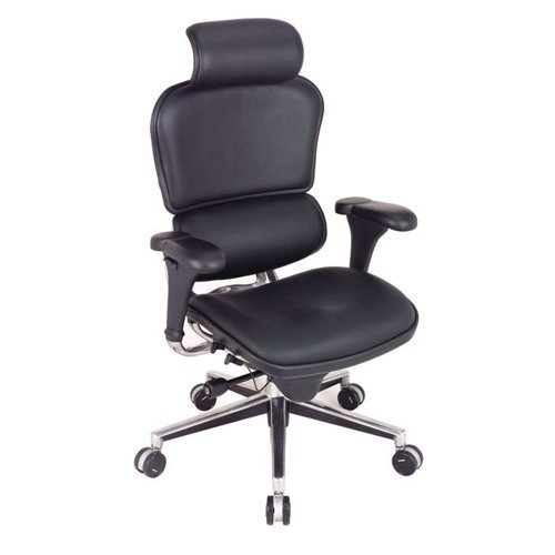 High Back Ergonomic Chair with Headrest in Leather Black Leather/Chrome Frame