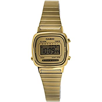 Casio Women's LA670WGA-9 Gold Stainless-Steel Quartz Watch with Digital Dial