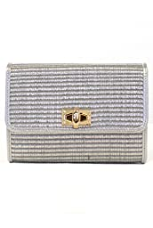 lcolette Bamboo Straw Clutch Bag With Metal Strap hd2011 (SILVER)