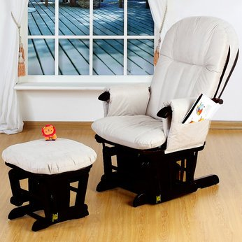 Logical Tutti Bambini GC35 Glider Chair and Stool in Espresso - Cleva Edition ChildSAFE Door Stopz Bundle
