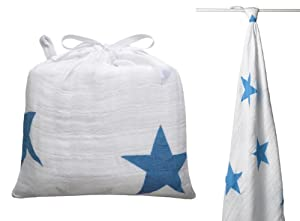Aden + Anais Twinkle 9009G Large Swaddle Cloth and Bag Blue Stars