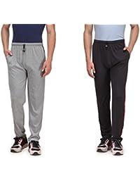 Alfa Active Melange Grey & Grey Cotton Track Pants (Pack Of 2)