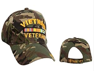 Vietnam Veteran Camouflage Cap, Camo Hat, Vietnam Vet Baseball Cap, Army Navy Air Force Marine Coast Guard, Veterans Day Retired or Disabled Veteran Gift, Adjustable One Size Fits Most Men and Women