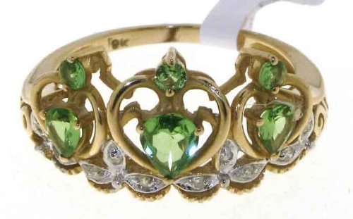 Funky 9 ct Gold Ladies Fancy Diamond Ring Brilliant Cut 0.05 Carat with Tsavorite