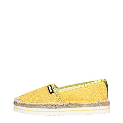 espadrillas donna Love Moschino JA10113 tessuto glitterato giallo gomma e rafia 39
