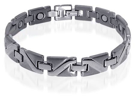 Mens Silver Tone Finish Magnetic Titanium Bracelet 8.5