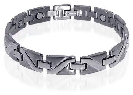 Mens Silver Tone Finish Magnetic Titanium Bracelet 8.5″