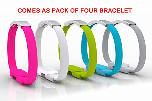Pack of Four Dazzling Bendy & Durable Short Micro USB Data Charging Sync Cable . New Design 2015 for charging from Power Banks. Perfect and innovative Gift to your Sisters on Raksha Bandhan Festival. Data Sync Charger Bracelet For Intex Aqua Star-2 and many other android smart phones. ( Pack of Four mix Color )