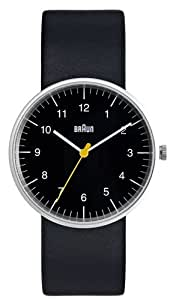 Braun Men's Analog Watch Black Face, Black Leather Band 38mm