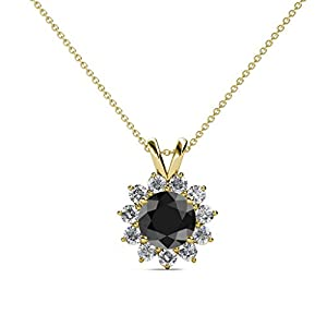 Black and White Diamond Floral Halo Pendant 1.28 ct tw in 14K Yellow Gold with 18 Inches 14K Gold Chain