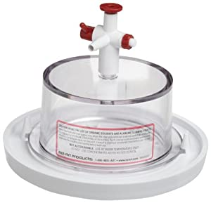 "Bel-Art Scienceware 410990000 Polycarbonate Top Polypropylene Bottom Mini Vacuum Desiccator, 6-3/4"" ID, 5"" Height"