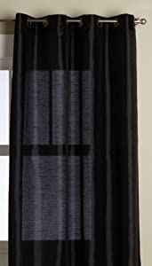 Editex Home Textiles Elaine Window Panel, 58 by 63-Inch, Black