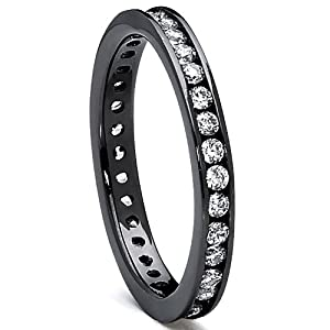 Amazon Sterling Silver 925 Womens Black Rhodium Eternity Ring Engagement Wedding Band With