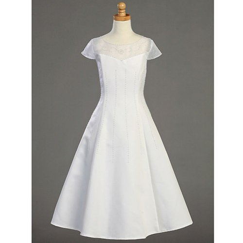Lito Girl White Organza A-Line Tea Length First Communion Dress 7-20.5