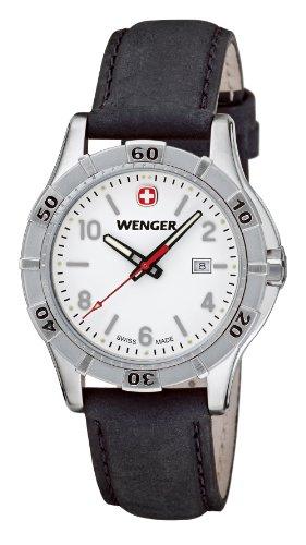 Wenger Platoon 01.9211.102 - Reloj analógico de cuarzo para mujer, correa de cuero color marrón (agujas luminiscentes)