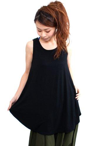 (ナドゥー) nadoo 全12色 ヨガウェア フィットネス ダンス シャツ型 フレア裾 ロング タンクトップ 240