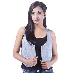 Goodwill Impex Women'S Casual Wear Blue Jacket