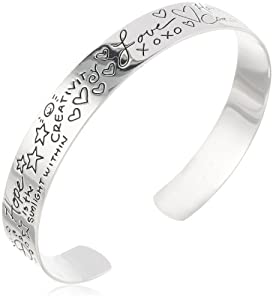 "Sterling Silver ""Love"" Themed Graffiti Cuff Bracelet by Amazon Curated Collection"