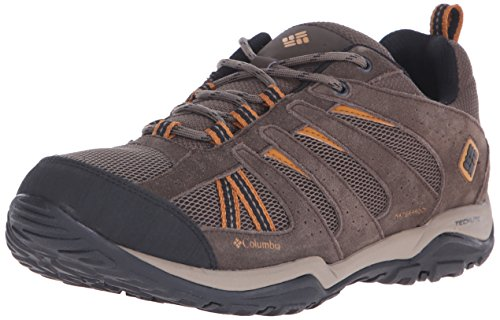 Columbia Men's North Plains Drifter Waterproof Trail Shoe, Mud/Canyon Gold, 7 D US