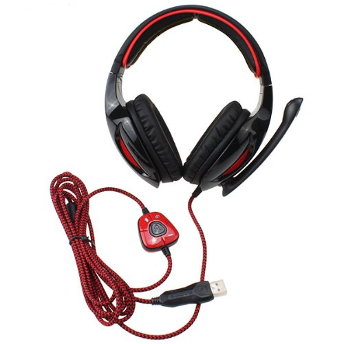 Sades 7.1 Surround Sound Effect Usb Gaming Headset Headphone With Mic - Red