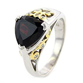 18K Gold & Silver Designer Garnet Ring with Diamonds