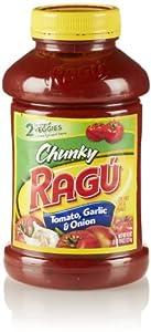 Ragu Chunky Pasta Sauce, Tomato Garlic & Onion, 45 Oz