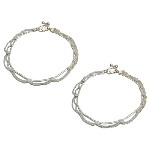 Womens Ankle Bracelets Pair in Silver 10.25 Inches