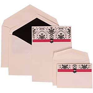 Amazon Pink Card With Black Lined Envelope Wedding Invitation Blue And Pink Band Set Combo