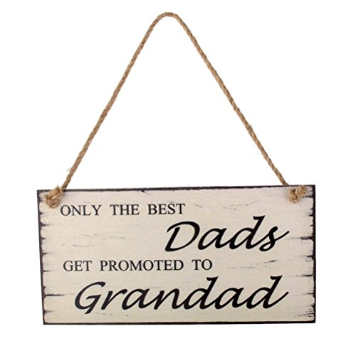 WINOMO Dads Get Promoted to Grandad Birthday Fathers Day Gift Wall Plaque Sign