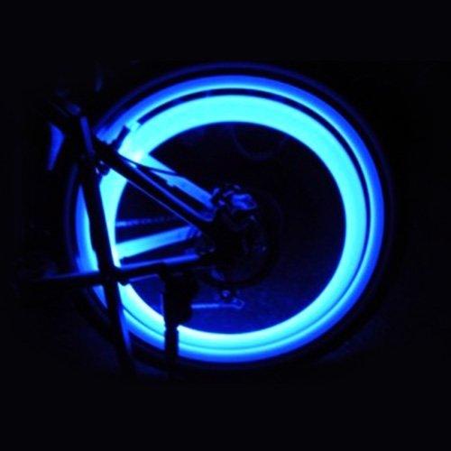Massmall Blue 2Pcs Bicycle Wheel Spoke Tire Wire Tyre Valve Led Neon Light Lamp Bulb