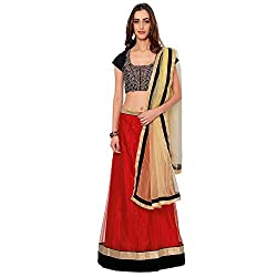 Suchi Fashion Red & Beige Embroidered Net Semi Stitched Lehenga Choli