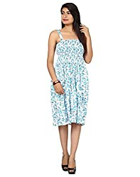 Yogalz White SkyBlue Color Casual Daily Wear Women Cotton Party Wear Dress