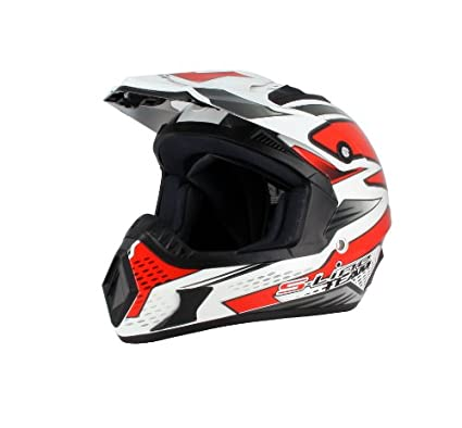 S-LINE - Cross S813 blanc rouge M Casque cross blanc rouge