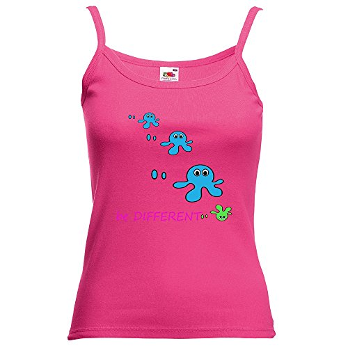 Divertente 028, Be Different, Fucsia Fruit of the Loom Women Strap Tee Cotone Top e Canotte Spalline Donna con Design Colorato. Taglia M.