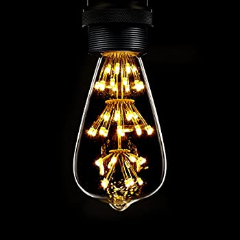 Kiven ST64 Vintage Edison Design A19 E26 2200K Warm White Retro Energy Save Beautiful and Romantic Starry Decorative 3W LED Light Bulbs for Holiday Christmas Indoor Party Antique 110V Not Dimmable