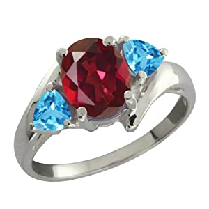 2.16 Ct Oval Ruby Red Mystic Topaz and Swiss Blue Topaz Sterling Silver Ring