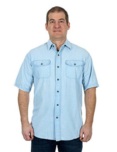 Men's Light Blue Denim Short Sleeve Button Down Shirt (Large) (Light Blue Short Sleeve Shirt compare prices)