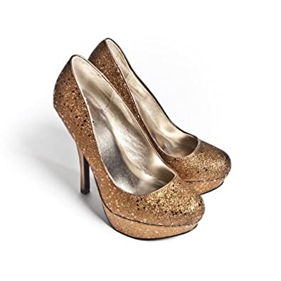 Qupid Women's High Heel Platform Bridal Glitter Shoes Round Toe Pump, Bronze Leatherette, 7 M US