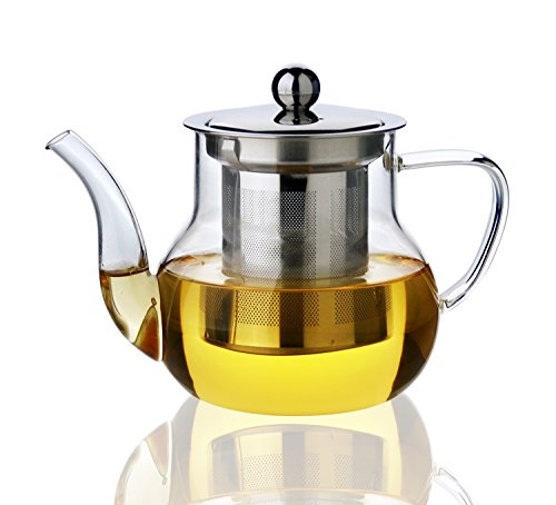 Xenics Glass Teapot with Stainless Steel Infuser and Lid,21oz/600ml Borosilicate Ultralight High Heat Resistance Teapots for Flower Tea and Loose Leaf Tea Pot (600ml) (21 Oz Glasses With Lids compare prices)